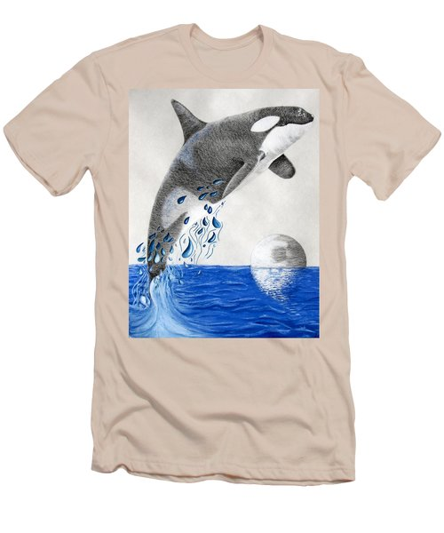 Men's T-Shirt (Slim Fit) featuring the drawing Orca by Mayhem Mediums