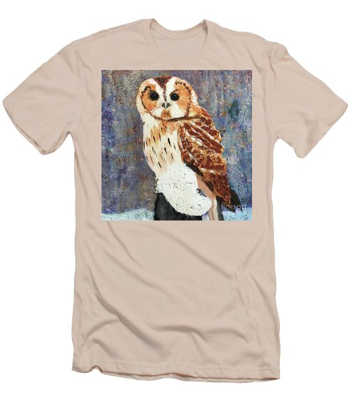 Owl On Snow Men's T-Shirt (Athletic Fit)