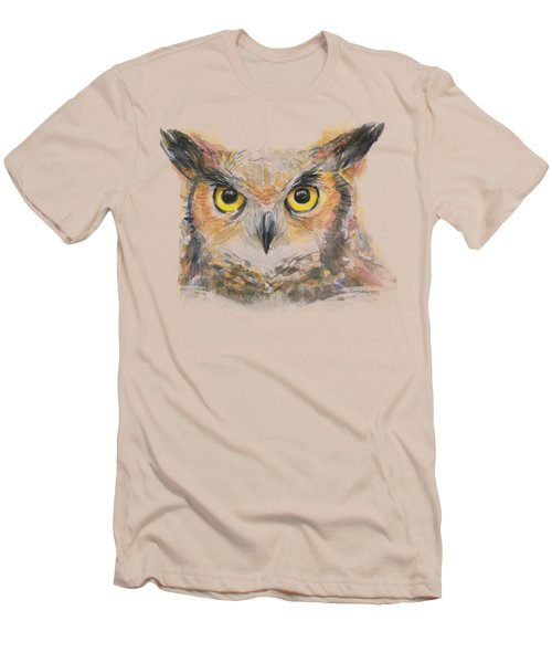 Owl Watercolor Portrait Great Horned Men's T-Shirt (Slim Fit) by Olga Shvartsur