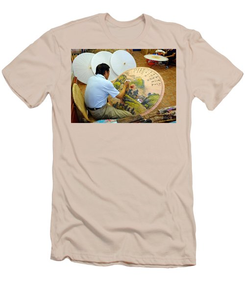 Painting Chinese Oil-paper Umbrellas Men's T-Shirt (Slim Fit)