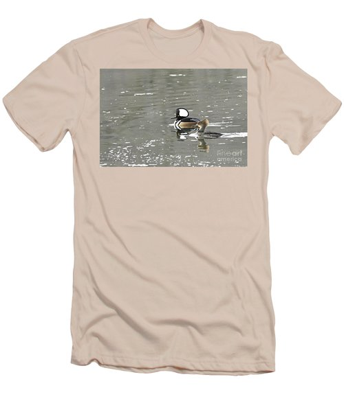 Men's T-Shirt (Slim Fit) featuring the photograph Pair Of Hooded Mergansers by Larry Ricker