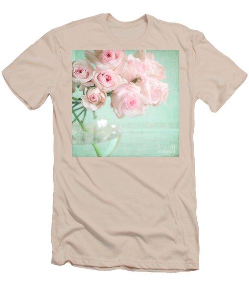 Pale Pink Roses Men's T-Shirt (Athletic Fit)