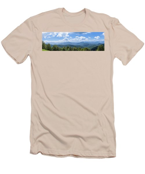 Panorama Of The Foothills Of The Pyrenees In Biert Men's T-Shirt (Slim Fit) by Semmick Photo