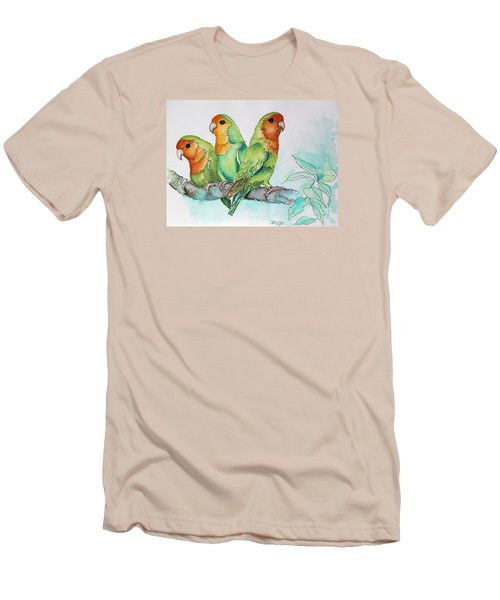 Men's T-Shirt (Slim Fit) featuring the painting Parrots Trio by Inese Poga