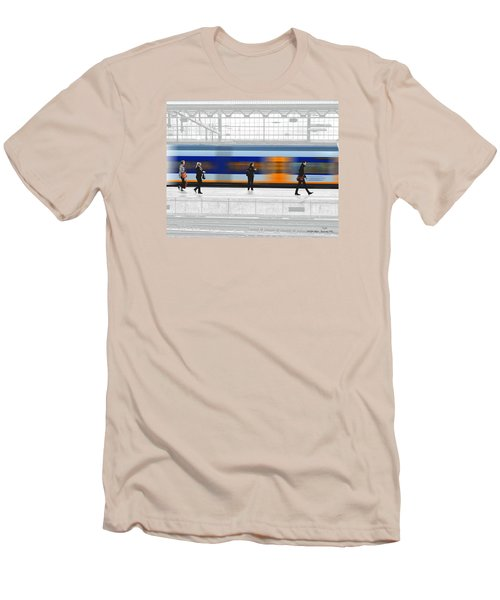 Passing Train Men's T-Shirt (Slim Fit) by Pedro L Gili