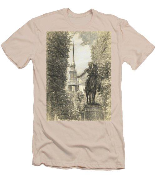 Paul Revere Rides Sketch Men's T-Shirt (Athletic Fit)