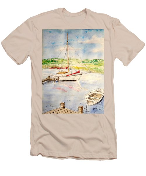 Men's T-Shirt (Slim Fit) featuring the painting Peaceful Harbor by Marilyn Zalatan