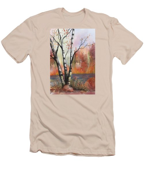 Peaceful River Men's T-Shirt (Slim Fit) by Annette Berglund