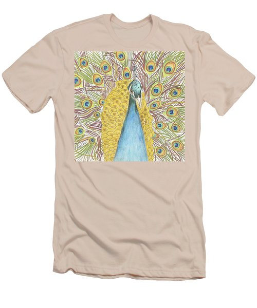 Men's T-Shirt (Slim Fit) featuring the drawing Peacock Two by Arlene Crafton