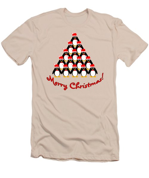 Penguin Christmas Tree Men's T-Shirt (Slim Fit) by Methune Hively