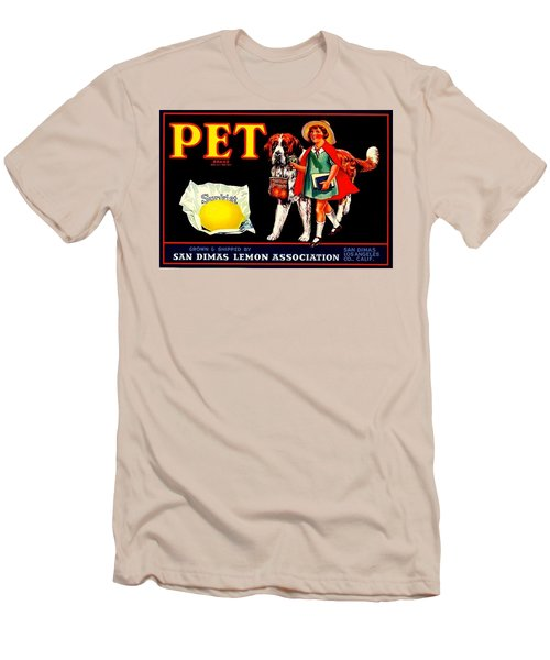 Pet Saint Bernard 1920s California Sunkist Lemons Men's T-Shirt (Slim Fit) by Peter Gumaer Ogden