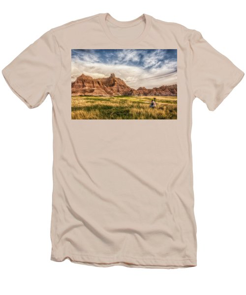 Photographer Waiting For The Badlands Light Men's T-Shirt (Slim Fit) by Rikk Flohr