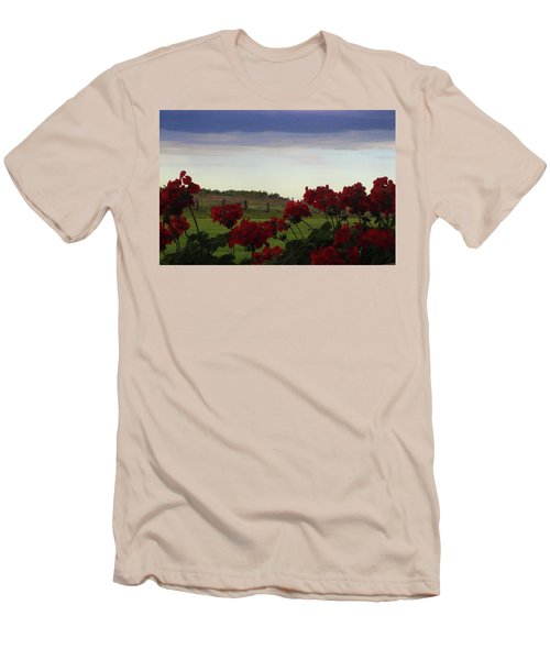 Picket Fence, Flowers And Storms Men's T-Shirt (Athletic Fit)