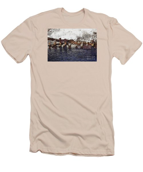 Men's T-Shirt (Slim Fit) featuring the digital art Pier Piles by David Blank