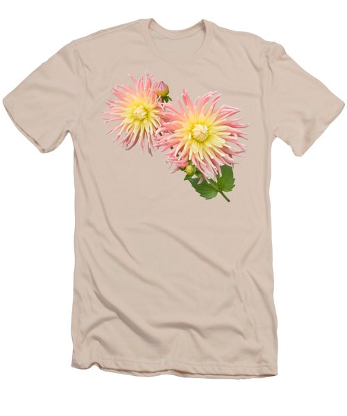 Pink And Cream Cactus Dahlia Men's T-Shirt (Slim Fit) by Jane McIlroy