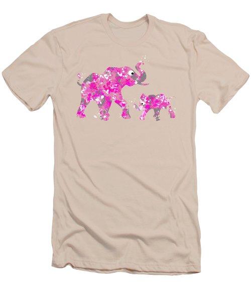 Pink Elephants Men's T-Shirt (Slim Fit) by Christina Rollo
