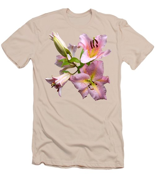 Pink Lilies On Cream Men's T-Shirt (Slim Fit) by Jane McIlroy