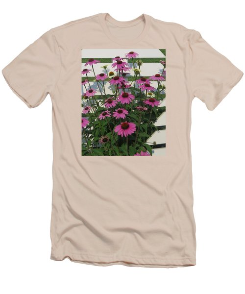 Men's T-Shirt (Slim Fit) featuring the photograph Pink On The Fence by Jeanette Oberholtzer