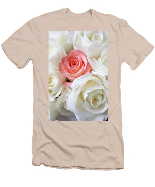 Pink Rose Among White Roses Men's T-Shirt (Athletic Fit)