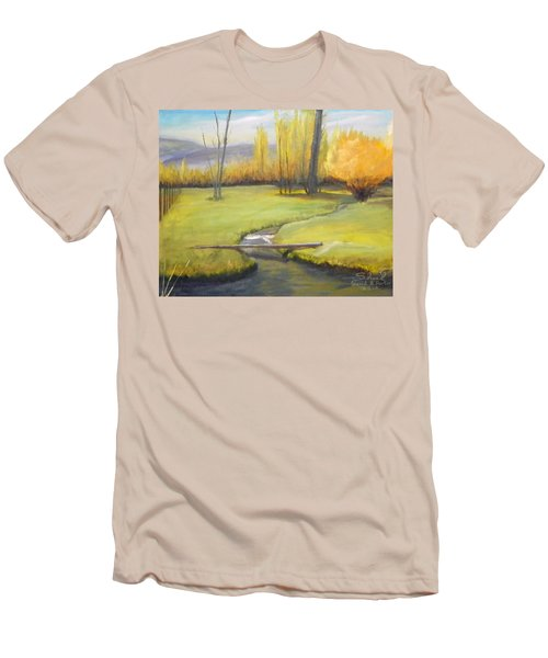 Placid Stream In Field Men's T-Shirt (Slim Fit) by Sherril Porter