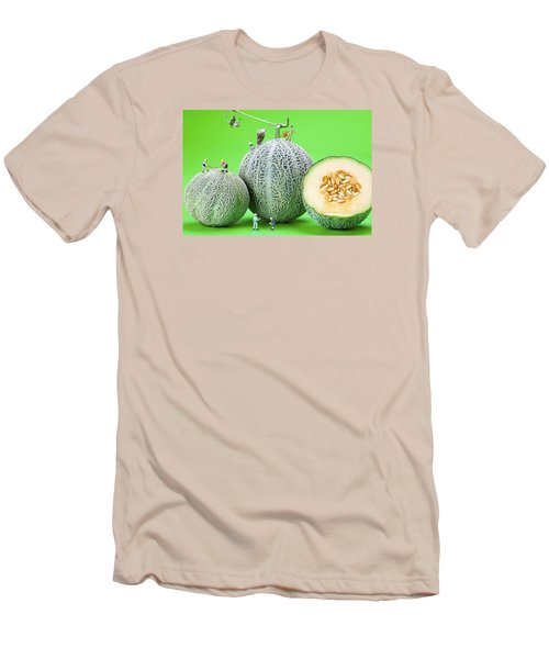 Men's T-Shirt (Slim Fit) featuring the photograph Planting Cantaloupe Melons Little People On Food by Paul Ge
