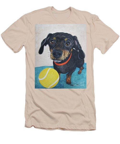 Playful Dachshund Men's T-Shirt (Slim Fit) by Megan Cohen