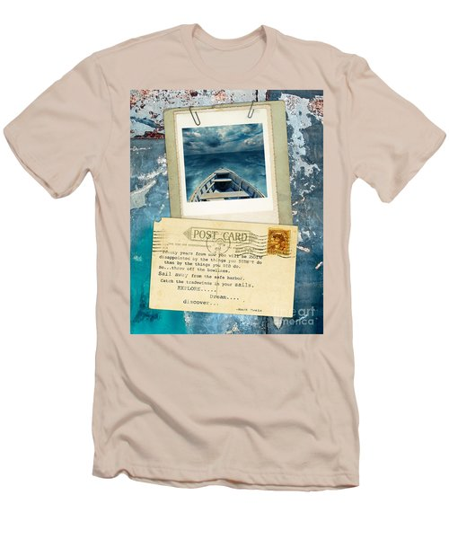 Poloroid Of Boat With Inspirational Quote Men's T-Shirt (Athletic Fit)