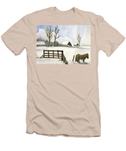 Men's T-Shirt (Slim Fit) featuring the painting Pony In The Snow by Annemeet Hasidi- van der Leij