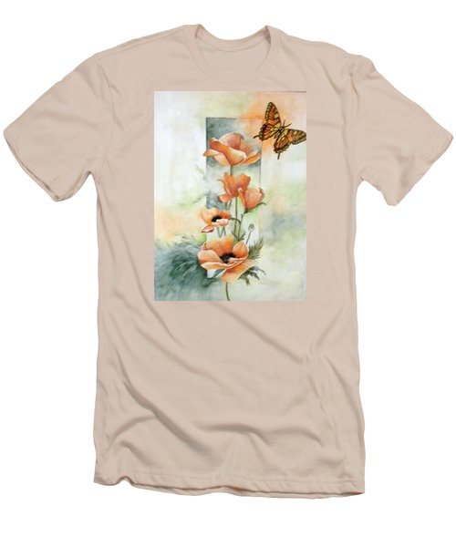 Poppies And Butterfly Men's T-Shirt (Slim Fit) by Marti Idlet