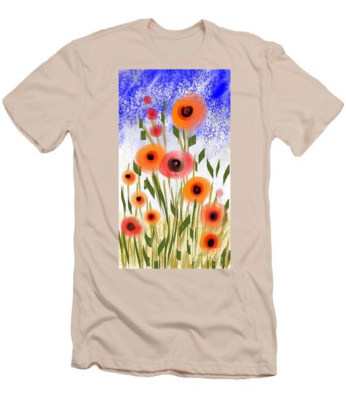 Poppy Garden Men's T-Shirt (Slim Fit) by Elaine Lanoue
