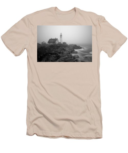 Portland Head Lighthouse In Fog Black And White Men's T-Shirt (Athletic Fit)