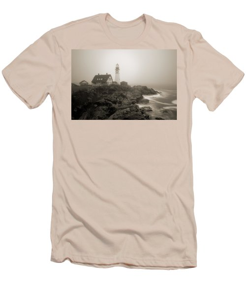 Portland Head Lighthouse In Fog Sepia Men's T-Shirt (Athletic Fit)