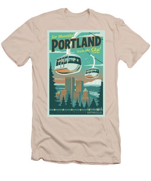 Portland Tram Retro Travel Poster Men's T-Shirt (Slim Fit) by Jim Zahniser