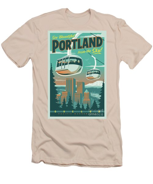 Portland Tram Retro Travel Poster Men's T-Shirt (Athletic Fit)