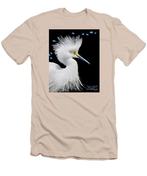 Portrait Of A Snowy White Egret Men's T-Shirt (Slim Fit) by Jennie Breeze