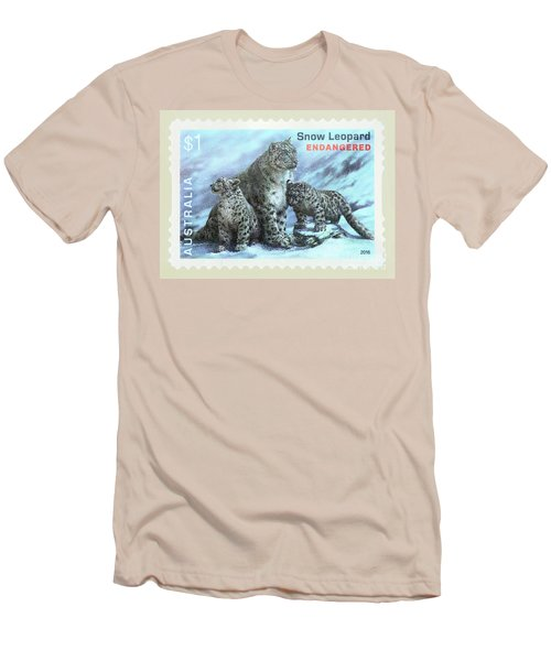 Men's T-Shirt (Athletic Fit) featuring the photograph Postage Stamp - Snow Leopard By Kaye Menner by Kaye Menner