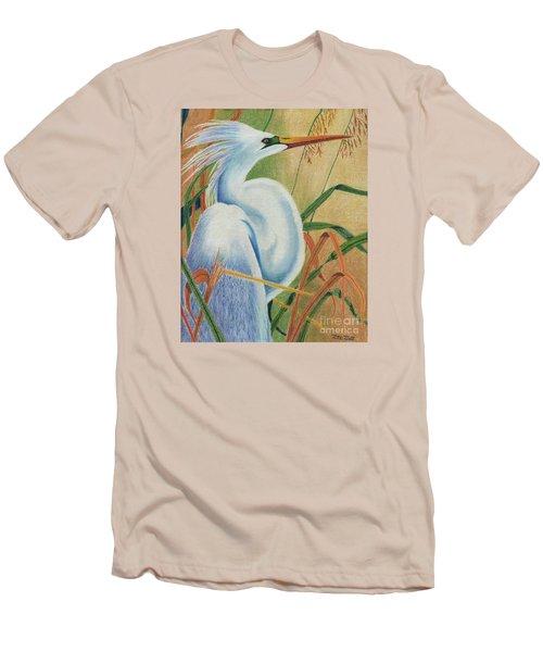 Men's T-Shirt (Slim Fit) featuring the drawing Preening Egret by Peter Piatt