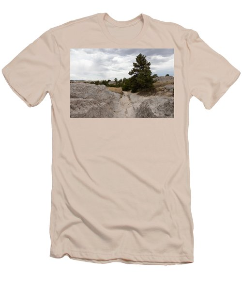 Men's T-Shirt (Slim Fit) featuring the photograph Preserved Wagon Ruts Of The Oregon Trail On The North Platte River by Carol M Highsmith