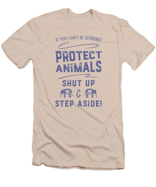 Protect Animals Typography Poster 2 Men's T-Shirt (Slim Fit) by Nola Lee Kelsey