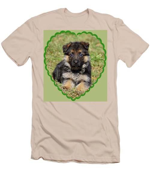 Men's T-Shirt (Slim Fit) featuring the photograph Puppy In Heart by Sandy Keeton