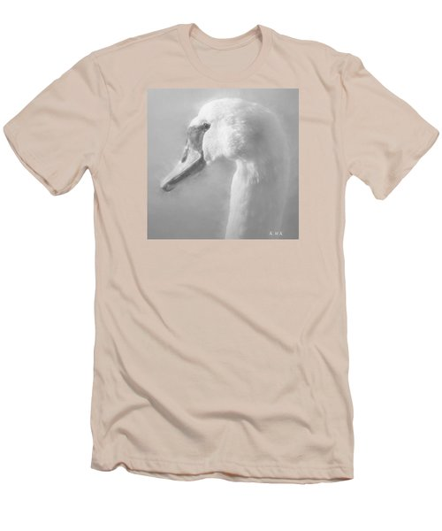 Men's T-Shirt (Slim Fit) featuring the painting Purity Bw by Rose-Maries Pictures