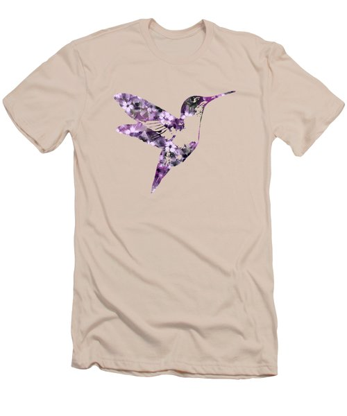 Purple Floral Hummingbird Art Men's T-Shirt (Athletic Fit)