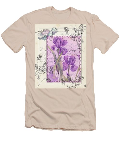 Men's T-Shirt (Slim Fit) featuring the drawing Purple Iris by Cathie Richardson