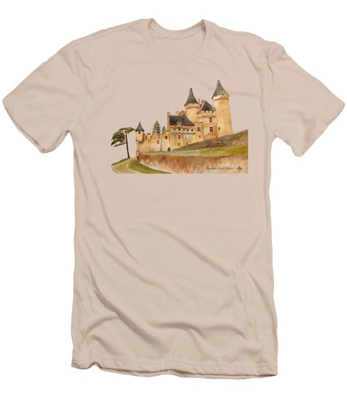 Puymartin Castle Men's T-Shirt (Slim Fit) by Angeles M Pomata