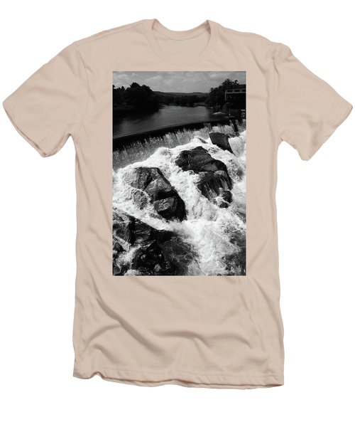Men's T-Shirt (Slim Fit) featuring the photograph Quechee, Vermont - Falls 2 Bw by Frank Romeo