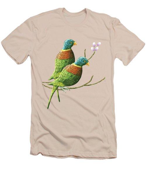 Rainbow Lorikeet Of Australia B Men's T-Shirt (Slim Fit) by Thecla Correya