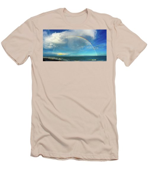 Rainbow Over Topsail Island Men's T-Shirt (Slim Fit) by John Pagliuca