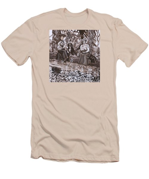 Men's T-Shirt (Slim Fit) featuring the painting Ranch Women Picking Berries Historical Vignette by Dawn Senior-Trask