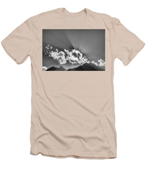 Men's T-Shirt (Athletic Fit) featuring the photograph Rays Through Clouds, Keylong, 2005 by Hitendra SINKAR