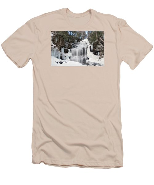 Men's T-Shirt (Slim Fit) featuring the photograph Receding Winter Ice At Ganoga Falls by Gene Walls